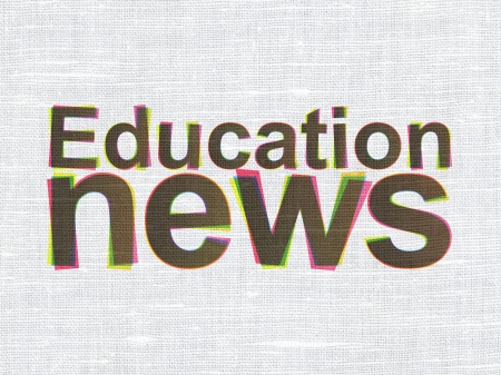 News concept: CMYK Education News on linen fabric texture background, 3d render photo
