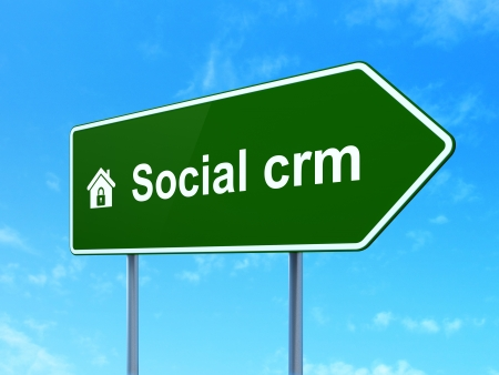 Finance concept: Social CRM and Home icon on green road (highway) sign, clear blue sky background, 3d render photo