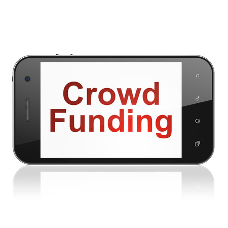 Finance concept: smartphone with text Crowd Funding on display. Mobile smart phone on White background, cell phone 3d render photo