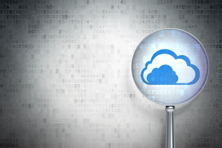 Cloud networking concept: magnifying optical glass with Cloud icon on digital background, empty copyspace for card, text, advertising, 3d render photo