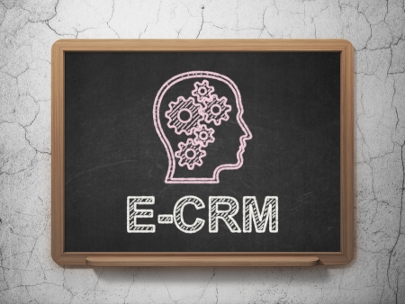ecrm: Finance concept: Head With Gears icon and text E-CRM on Black chalkboard on grunge wall background, 3d render Stock Photo