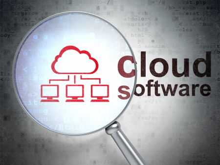 Cloud technology concept: magnifying optical glass with Cloud Network icon and Cloud Software word on digital background, 3d render photo