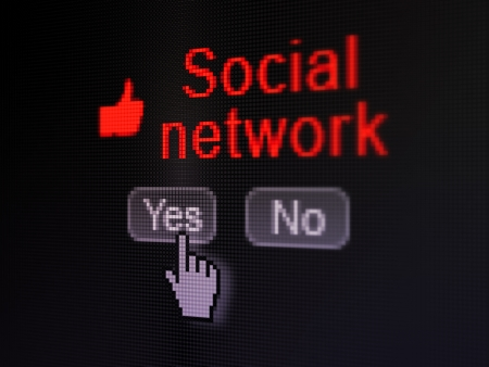 Social media concept: buttons yes and no with pixelated Thumb Up icon, word Social Network and Hand cursor on digital computer screen, selected focus 3d render photo