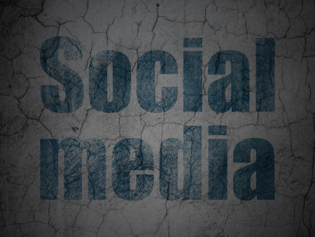 Social media concept: Blue Social Media on grunge textured concrete wall background, 3d render photo