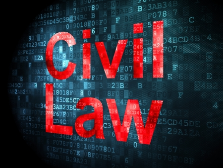 Law concept: pixelated words Civil Law on digital background, 3d render photo