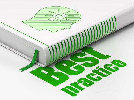 Concepto de la educaci�n: Libro cerrado con Green Head Con el icono de la bombilla y el texto de mejores pr�cticas en el piso, fondo blanco, 3d