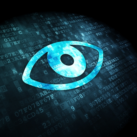 Protection concept: pixelated Eye icon on digital background, 3d render photo