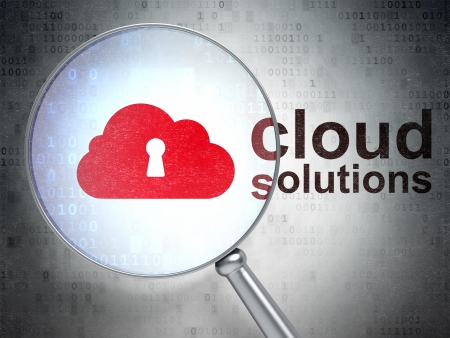 Cloud technology concept: magnifying optical glass with Cloud With Keyhole icon and Cloud Solutions word on digital background, 3d render photo