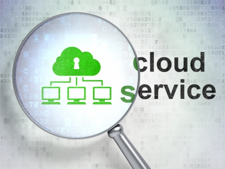 Cloud computing concept: magnifying optical glass with Cloud Network icon and Cloud Service word on digital background, 3d render photo
