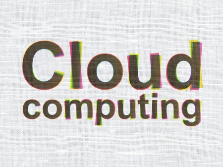 Cloud computing concept: CMYK Cloud Computing on linen fabric texture background, 3d render photo