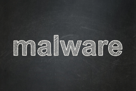 Protection concept: text Malware on Black chalkboard background, 3d render photo