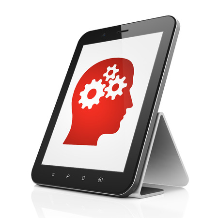 Data concept: black tablet pc computer with Head With Gears icon on display. Modern portable touch pad on White background, 3d render photo