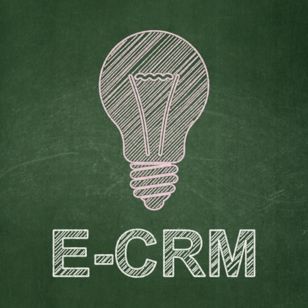 ecrm: Finance concept: Light Bulb icon and text E-CRM on Green chalkboard background, 3d render