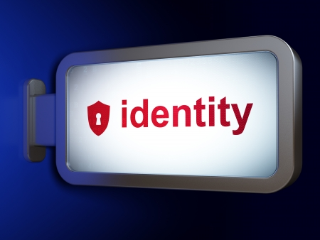 Safety concept: Identity and Shield With Keyhole on advertising billboard background, 3d render photo
