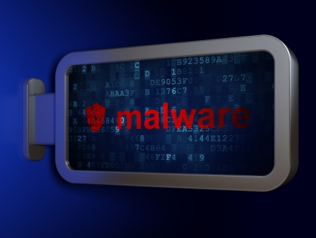 Safety concept: Malware and Broken Shield on advertising billboard background, 3d render photo