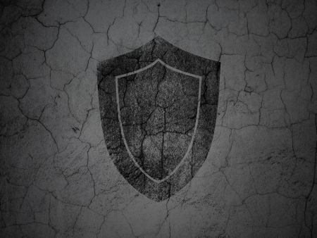 Safety concept: Black Shield on grunge textured concrete wall background, 3d render Stock Photo