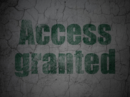 granted: Privacy concept: Green Access Granted on grunge textured concrete wall background, 3d render Stock Photo