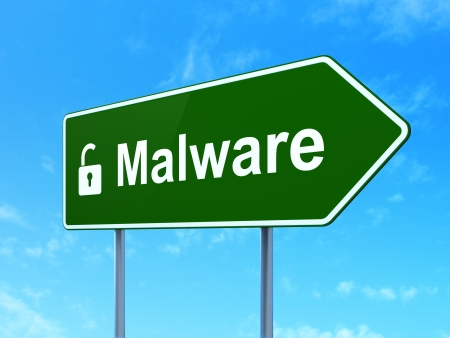 Security concept: Malware and Opened Padlock icon on green road (highway) sign, clear blue sky background, 3d render photo