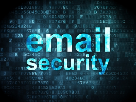 email security: Safety concept: pixelated words Email Security on digital background, 3d render Stock Photo