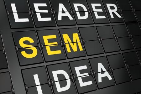sem: Business concept: SEM on airport board background, 3d render Stock Photo