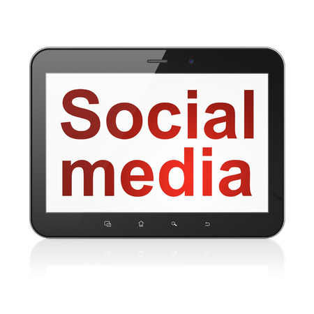 Social media concept: black tablet pc computer with text Social Media on display. Modern portable touch pad on White background, 3d render photo