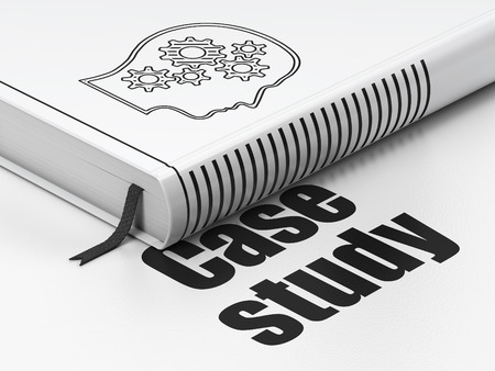 Education concept: closed book with Black Head With Gears icon and text Case Study on floor, white background, 3d render