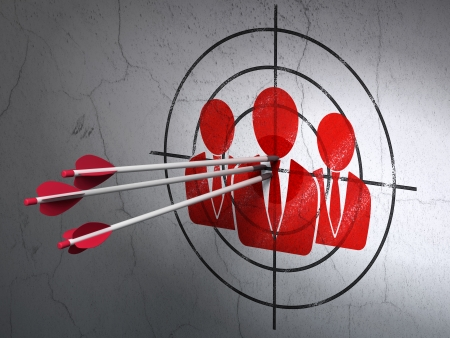 Success business concept: arrows hitting the center of Red Business People target on wall background, 3d render photo