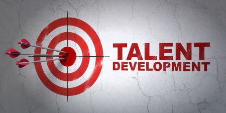 Success Education concept: arrows hitting the center of target, Red Talent Development on wall background, 3d render photo