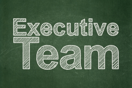 Finance concept: text Executive Team on Green chalkboard background, 3d render photo