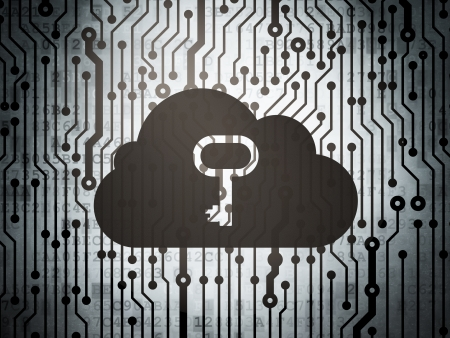 Cloud computing concept: circuit board with  Cloud With Key icon, 3d render photo
