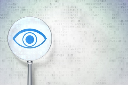 Privacy concept: magnifying optical glass with Eye icon on digital background, empty copyspace for card, text, advertising, 3d render photo