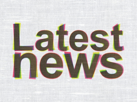 News concept: CMYK Latest News on linen fabric texture background, 3d render photo