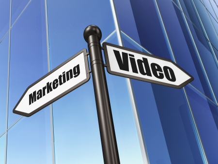 Business concept: sign Video Marketing on Building background, 3d render photo