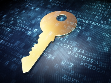 code lock: Safety concept: Golden Key on digital background, 3d render