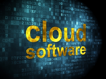 digital background: Cloud computing concept: pixelated words Cloud Software on digital background, 3d render Stock Photo