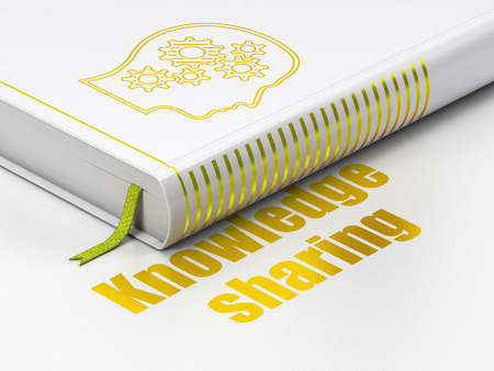 Education concept: closed book with Gold Head With Gears icon and text Knowledge Sharing on floor, white background, 3d render photo