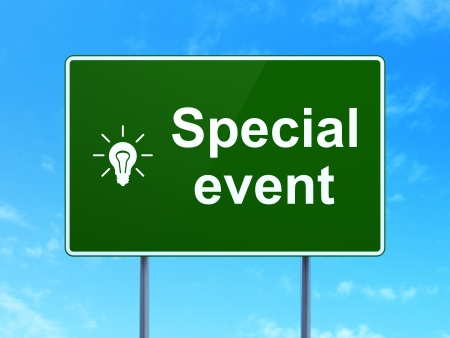 busines: Finance concept: Special Event and Light Bulb icon on green road (highway) sign, clear blue sky background, 3d render