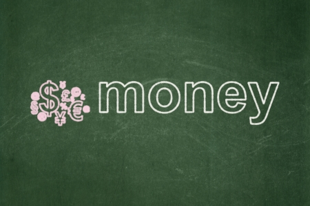 busines: Finance concept: Finance Symbol icon and text Money on Green chalkboard background, 3d render