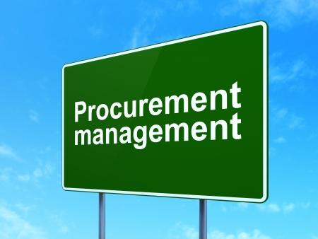 Finance concept: Procurement Management on green road (highway) sign, clear blue sky background, 3d render photo