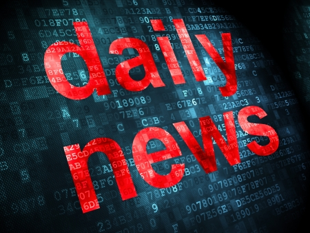 News concept: pixelated words Daily News on digital background, 3d render photo