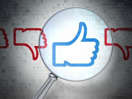 Concept de réseau social: loupe optique Comme, la différence icônes sur fond numérique, rendu 3d