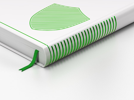 Security concept: closed book with Green Shield icon on floor, white background, 3d render photo