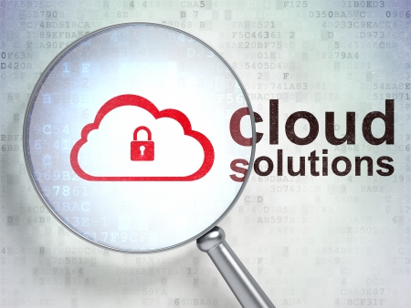 Cloud technology concept: magnifying optical glass with Cloud With Padlock icon and Cloud Solutions word on digital background, 3d render photo