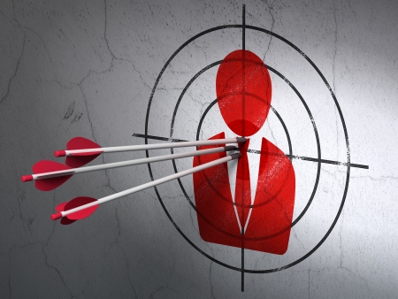 Success news concept: arrows hitting the center of Red Business Man target on wall background, 3d render photo
