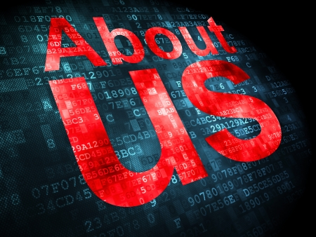 about us: Marketing concept: pixelated words About Us on digital background, 3d render