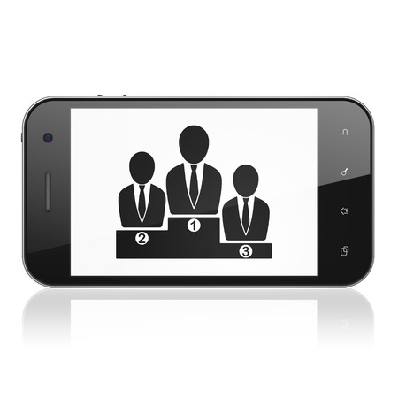 busines: Finance concept: smartphone with Business Team icon on display. Mobile smart phone on White background, cell phone 3d render