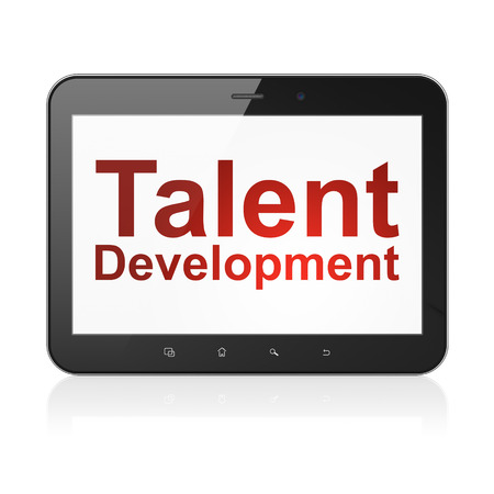 Education concept: black tablet pc computer with text Talent Development on display. Modern portable touch pad on White background, 3d render Stock Photo - 25062228