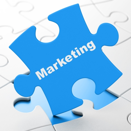Marketing concept: Marketing on Blue puzzle pieces background, 3d render photo