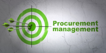 buisnes: Success business concept: arrows hitting the center of target, Green Procurement Management on wall background, 3d render