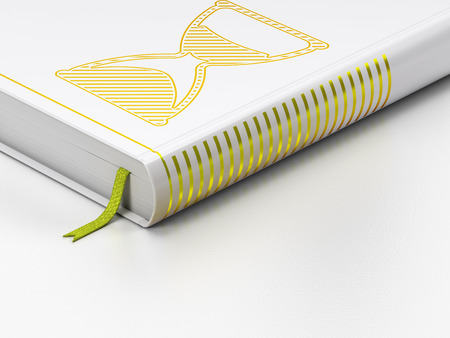 Timeline concept: closed book with Gold Hourglass icon on floor, white background, 3d render photo